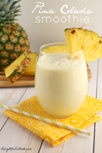 Cool, refreshing and delicious! This Pina Colada smoothie is the perfect breakfast or snack any time of day!