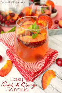 Craving a wonderfully refreshing fruity cocktail? My Easy Peach & Cherry Sangria is the perfect drink to mix for a party, shower or summer cookout. Just a few simple ingredients are needed for a pitcher of this fantastic summer libation!