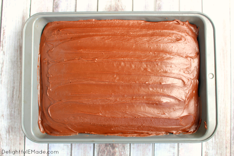 My Grandma's Best Chocolate Cake is famous! This decadent chocolate sheet cake recipe is topped with a luscious chocolate icing making it my all-time favorite chocolate cake.  Once slice won't be enough!