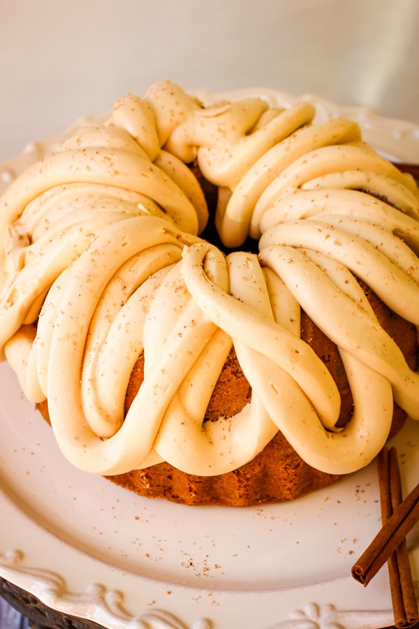 Apple Cider Bundt Cake with Caramel Cream Cheese Frosting.