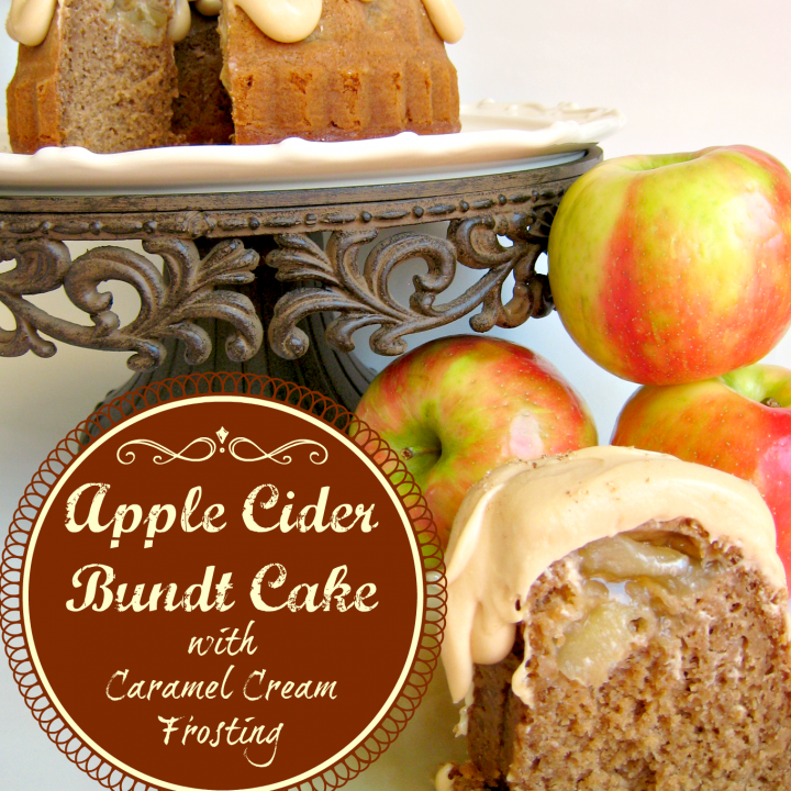 Apple Cider Spice Cake with Caramel Cream Cheese Frosting