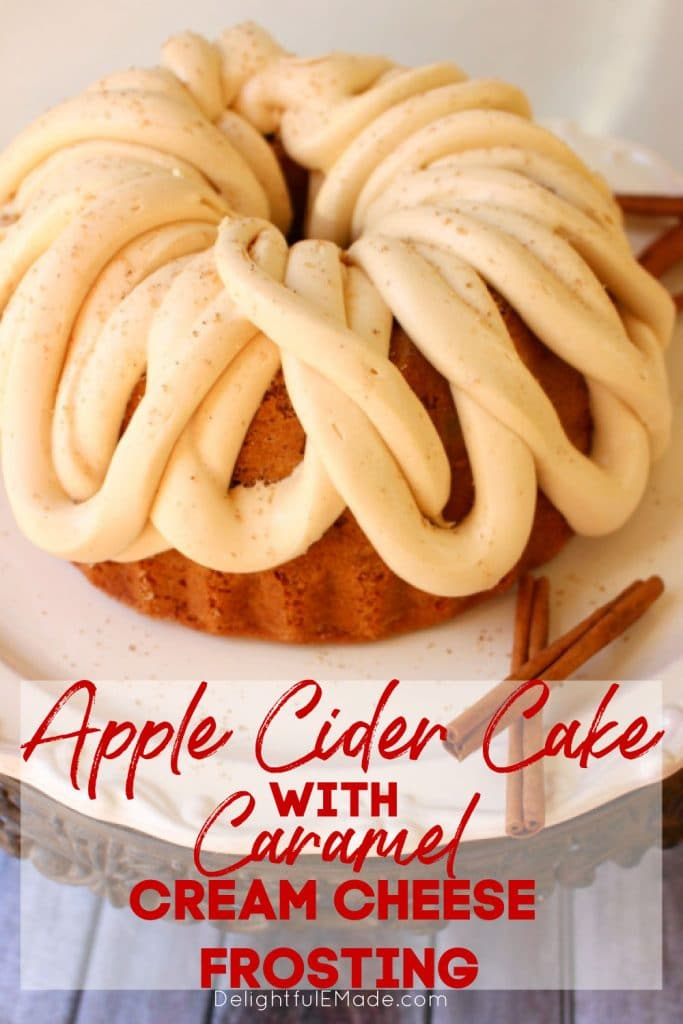 Apple Cider Cake with Caramel Cream Cheese Frosting