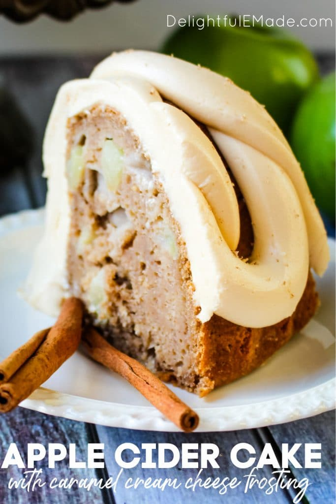 Apple Cider Cake with Caramel Cream Cheese Frosting - a slice of cake on a plate with cinnamon stick garnishes.