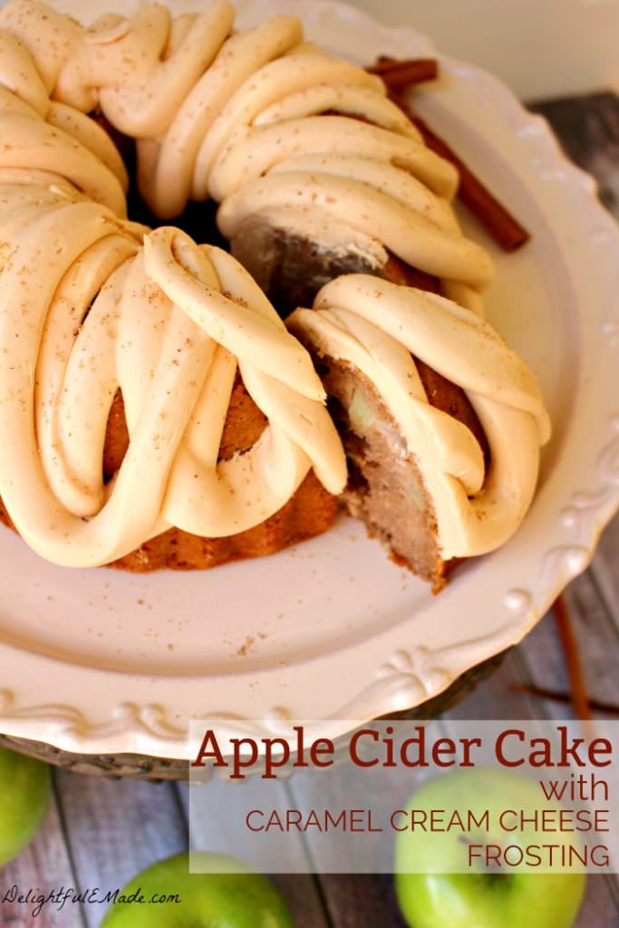 This amazing Apple Cider Cake recipe, topped with Caramel Cream Cheese Frosting is the perfect fall dessert! Made in a bundt pan, this fantastic apple cake will be a showstopper for any occasion!