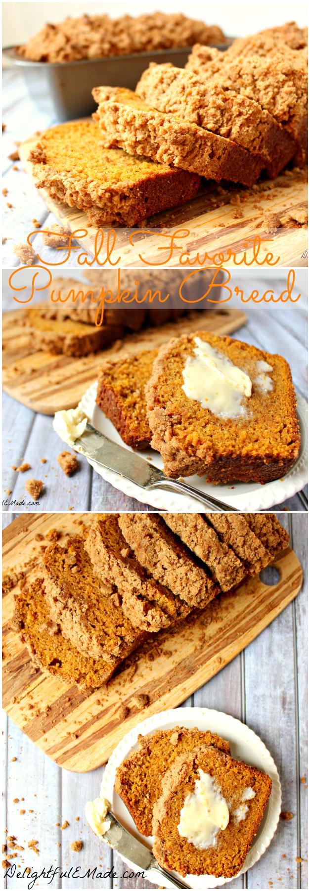 Fall Favorite Pumpkin Bread by DelightfulEMade.com