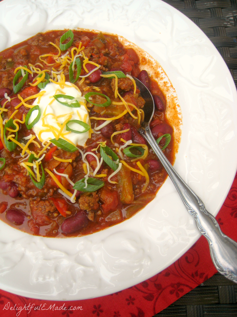 Loaded Slow Cooker Chili by DelightfulEMade.com