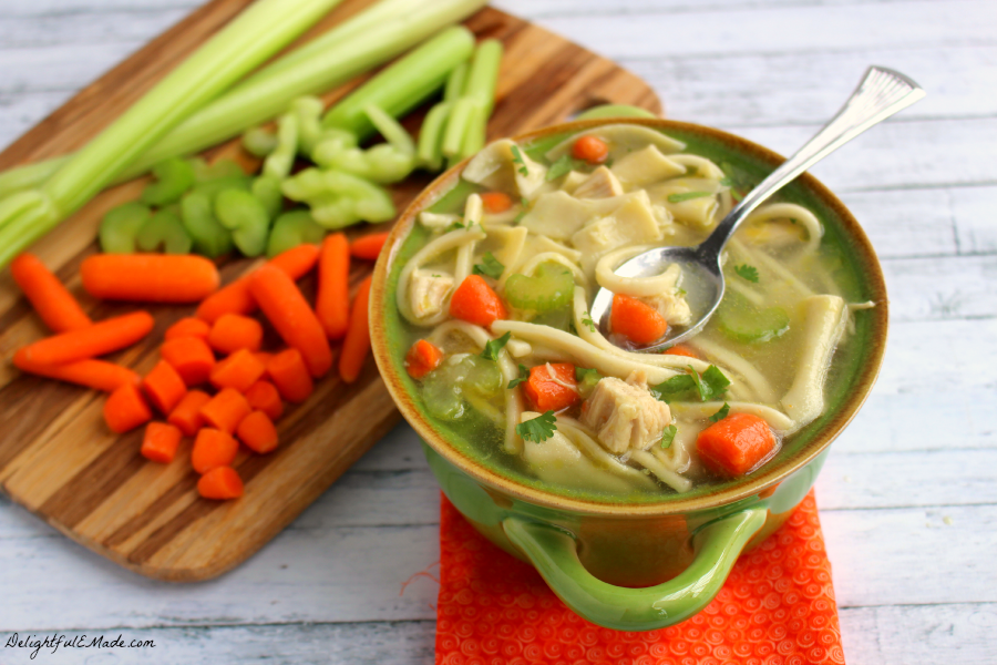 Loaded with both wide and narrow egg noodles, along with carrots, celery and thick chunks of chicken, this soup will warm the body and soul!