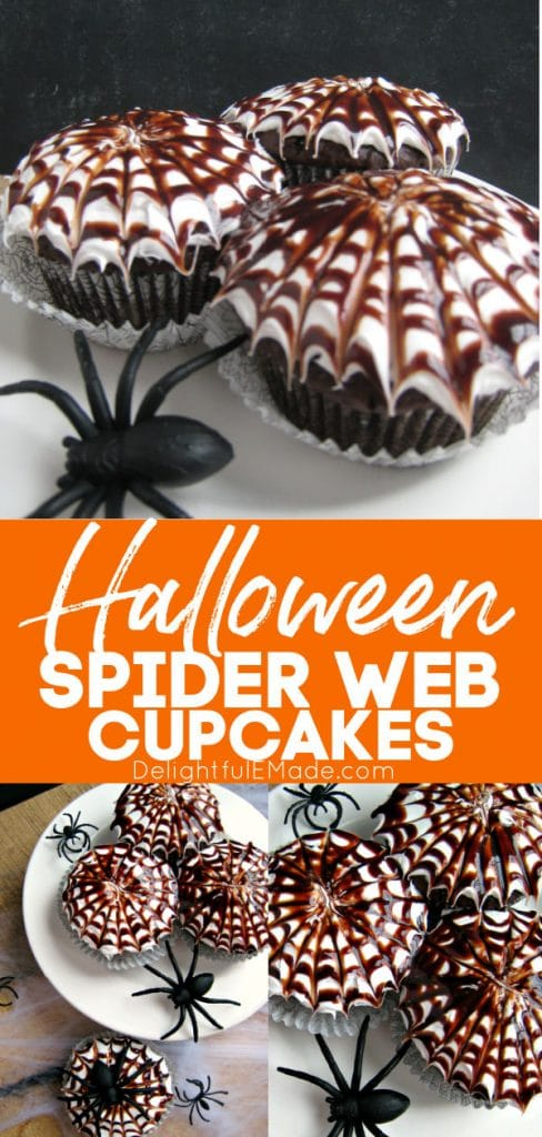 Halloween spider web cupcakes in a photo collage. Decorated with white frosting and chocolate syrup swirl to replicate a spiderweb.
