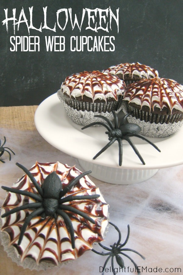 These fun Halloween Spider Web Cupcakes are the perfect treat for your ghouls and goblins. These delicious chocolate cupcakes are topped with a vanilla frosting and chocolate syrup spider webs. Fantastic for a Halloween classroom treat or party snack!