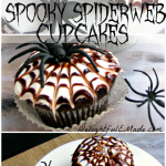 "Moist chocolate cupcakes are topped with a vanilla frosting and chocolate swirl spiderweb, making these cupcakes ""Spooktacular!"""