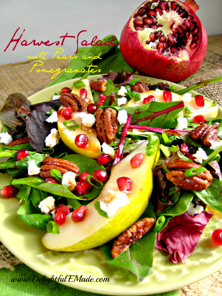 Harvest Salad with Pears and Pomegranates by Delightful E Made