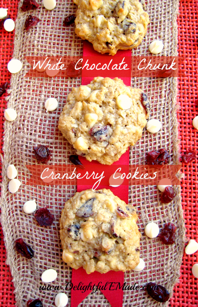 White Chocolate Chunk Cranberry Cookies by Delightful E Made