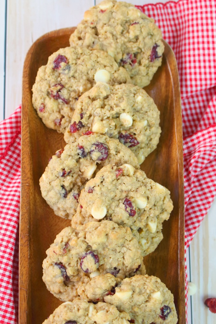 "One of my favorite oatmeal cookie recipes are these White Chocolate Chip Cranberry Oatmeal Cookies. The pretty red ""craisins"" make them perfect for Christmas, but they're actually amazing any time of year!"