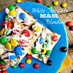 White Chocolate M&M Blondies to celebrate a great Flag Football Season