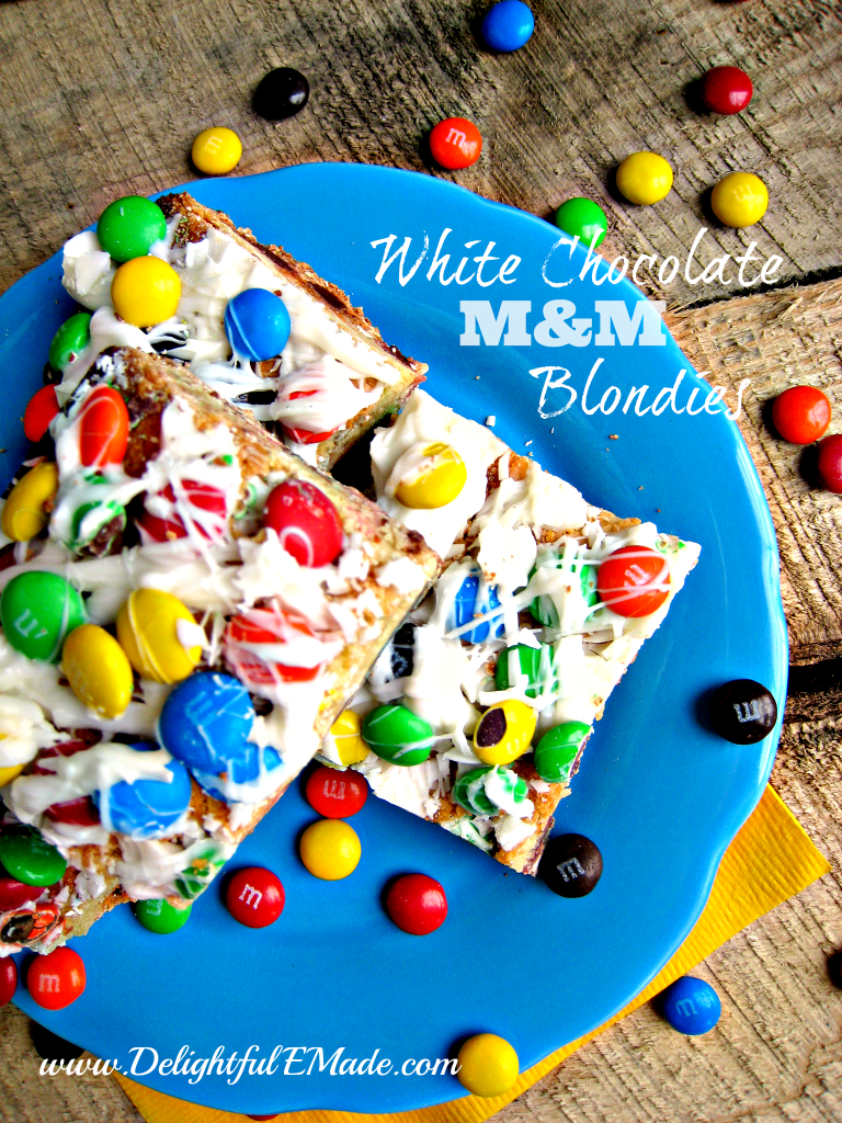 White Chocolate M&M Blondies by Delightful E Made