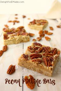 Cross between pecan pie and pecan sandies, these buttery, delicious Pecan Praline Bars are perfect any time you're in the mood for something sweet! An amazing pecan shortbread crust, a delicious brown sugar filling and topped with toasted pecans, these bars are incredible!