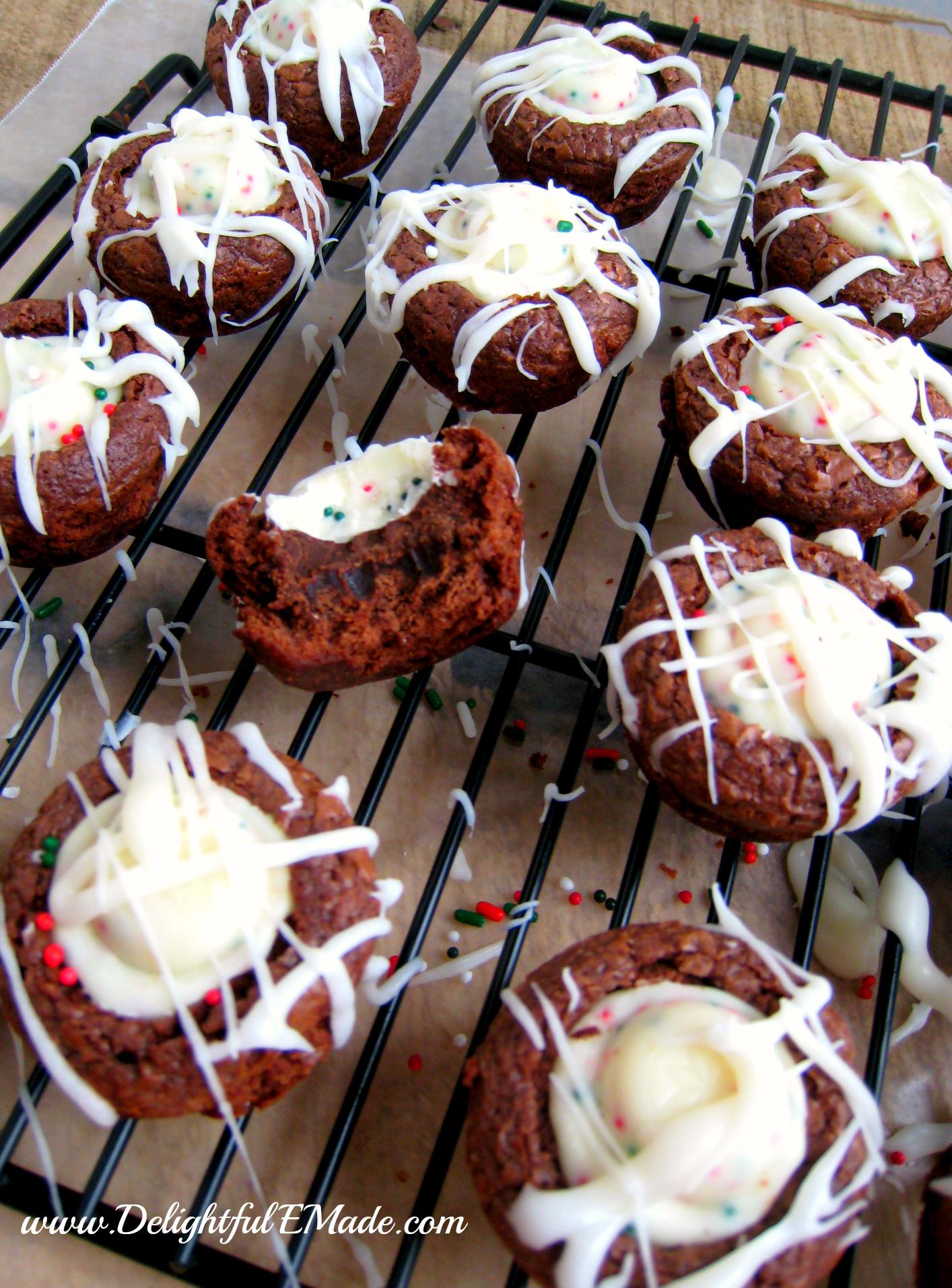 Peppermint Bark Brownie Bites - Delightful E Made