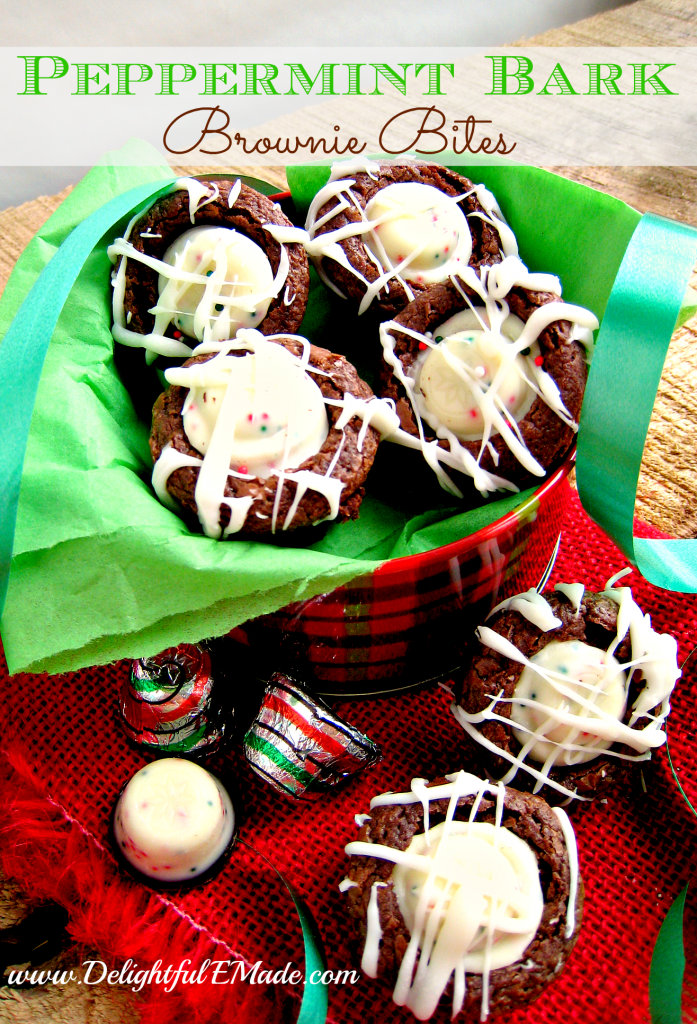 Peppermint Bark Brownie Bites by DelightfulEMade