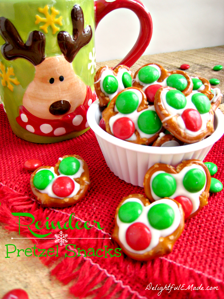 A salty-sweet snack that Santa will love!  With just a few ingredients these Reindeer Pretzel Snacks  are the perfect holiday treat!