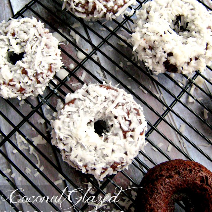 Coconut Glazed Chocolate Donuts by Delightful E Made