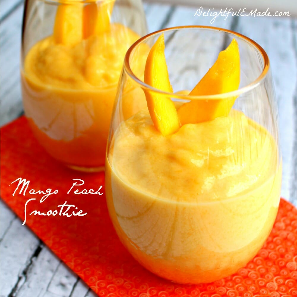 If you love peaches and mangoes then this Mango Peach Smoothie recipe will be right up your alley! A fantastic healthy snack option or a quick on-the-go breakfast idea, it's perfect for when you're trying to make healthier choices!