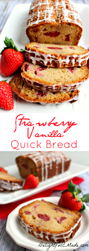 A great breakfast bread or delicious afternoon treat with your coffee or tea.  Its golden vanilla batter is bejeweled with juicy strawberries, and baked to perfection.