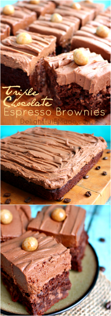 These Triple Chocolate Espresso Brownies are a chocolate lovers dream! The coffee flavor and chocolate pair beautifully with cocoa cream cheese frosting!