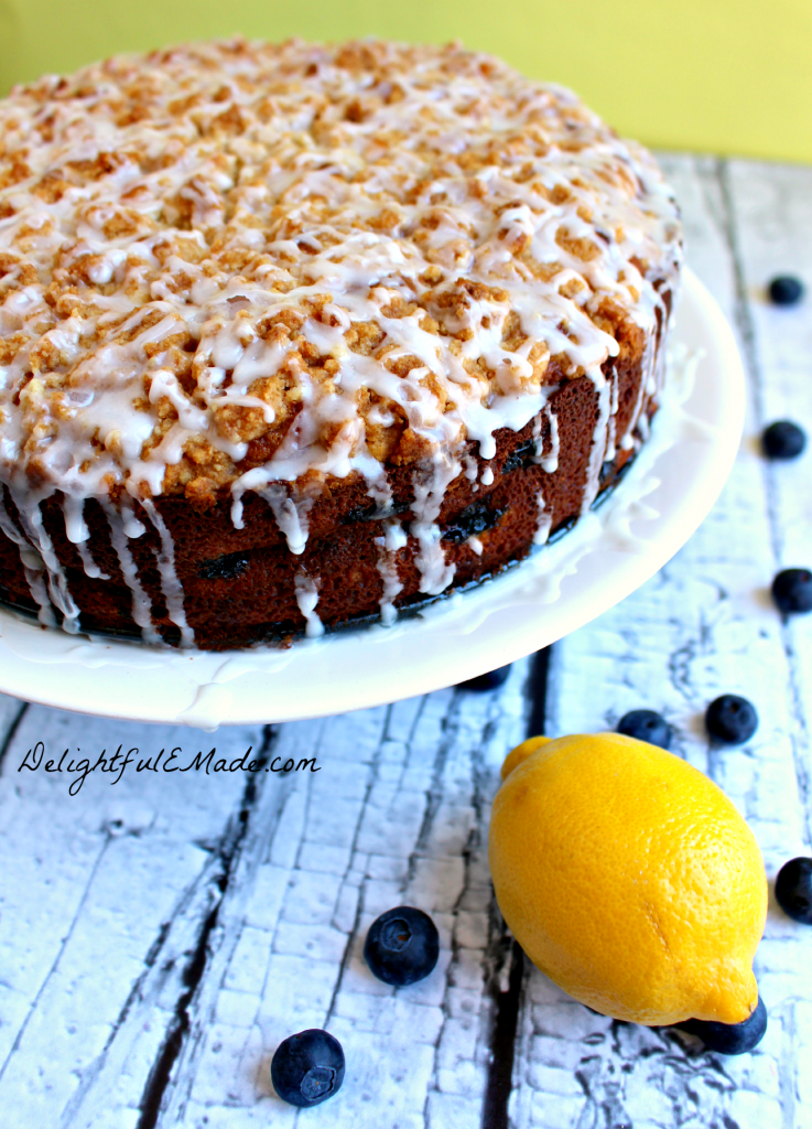 The most amazing coffee cake!  Loaded with lemon flavor, and packed with blueberries, its the perfect breakfast or brunch treat!