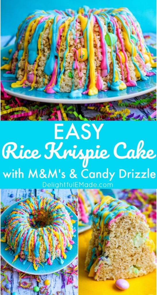 This rice krispie cake recipe will be your new favorite spring treat! Super easy to make, this rice krispie cake is made in a bundt pan, and loaded with colorful spring M&M's candies, and drizzled with pretty pastel candy melts.