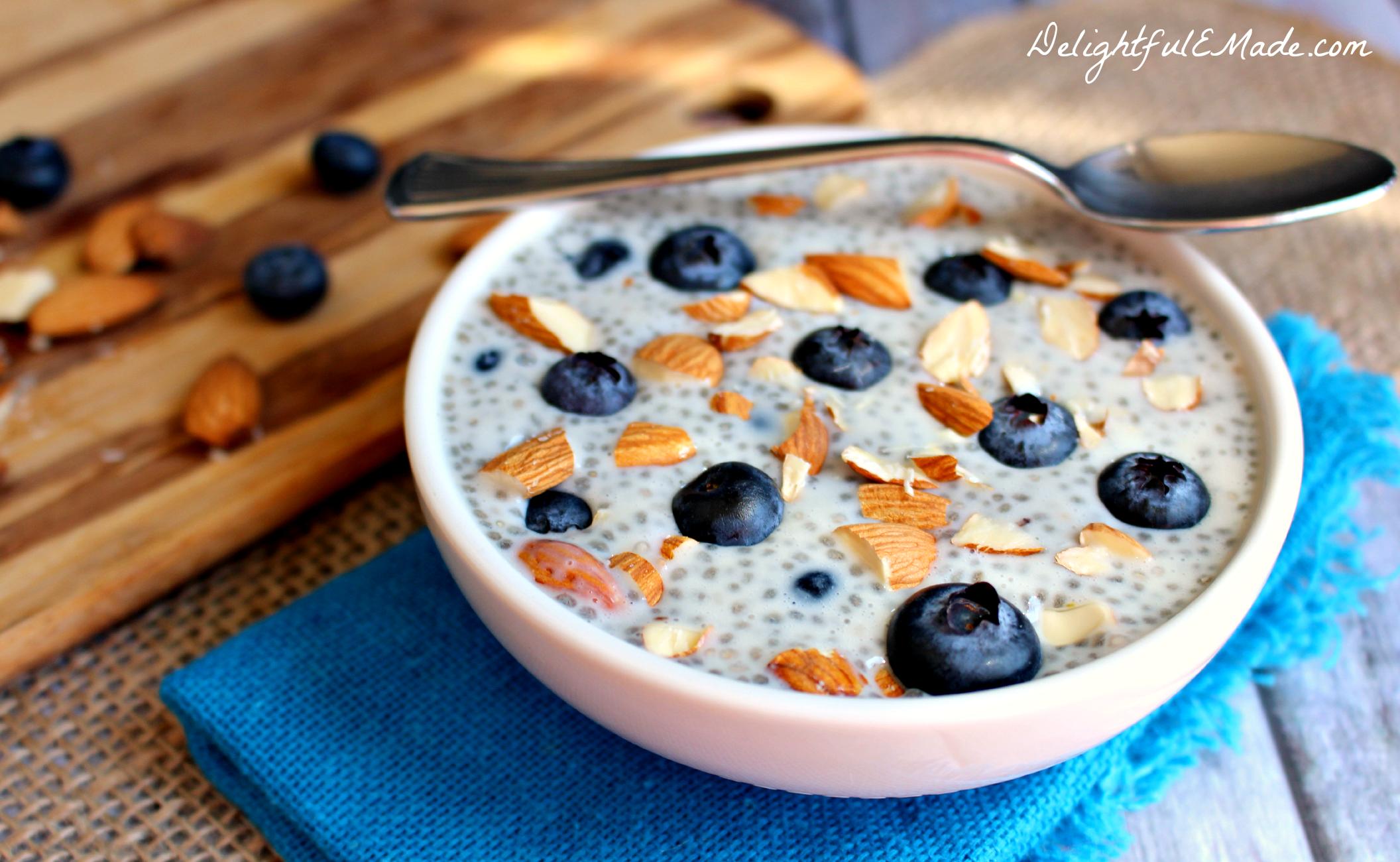 blueberry almond chia pudding   delightful e made