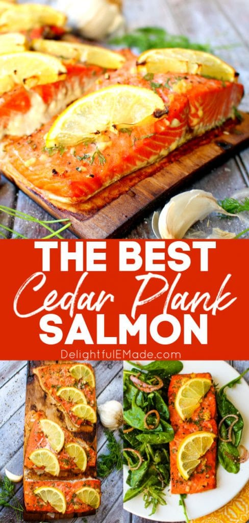 Grilled Cedar Plank Salmon, filets on charred plank topped with lemon slices and fresh dill sprigs.