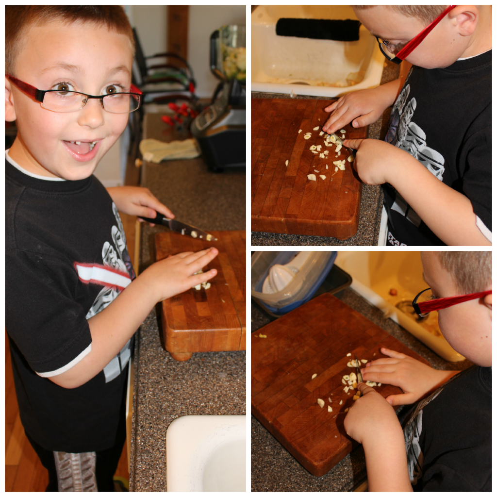 Harrison helping with chopping garlic.  :)  My little sou chef.