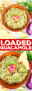 A must-have for any Mexican meal! This fresh, delicious chunky guacamole is loaded with fresh avocados, tomatoes, onions and the perfect spices. You'll want to put this guacamole on everything!