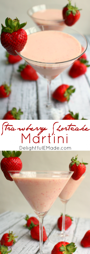 Made with strawberry puree, cake flavored vodka and cream liquor, this easy strawberry cocktail packs a punch, but is sure to please.  Tastes just like the classic strawberry shortcake dessert!