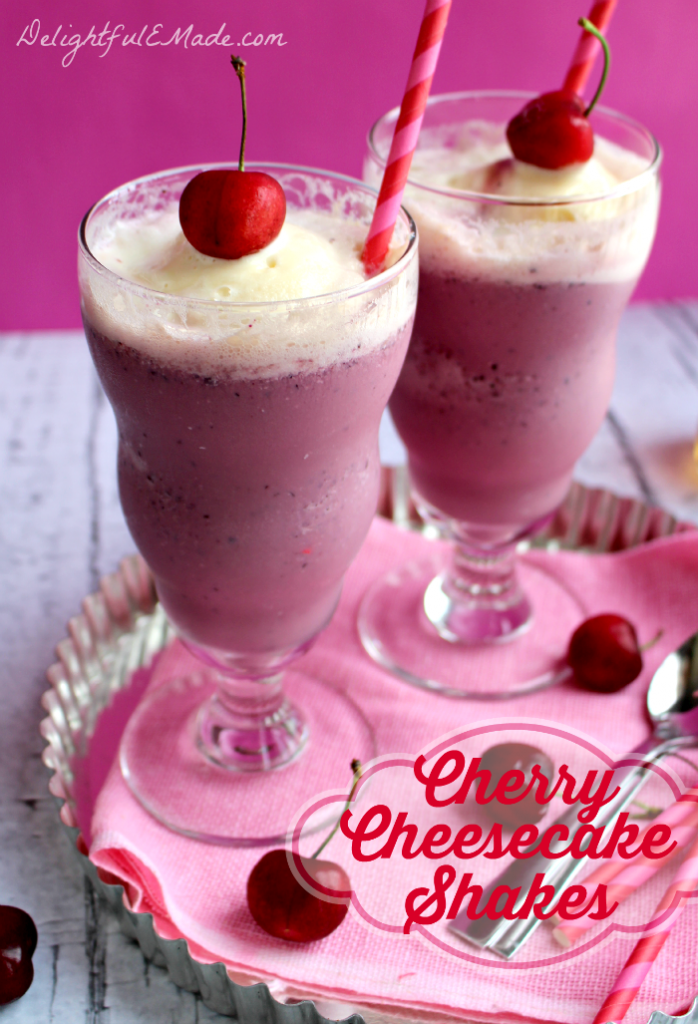 Everything you love about cherry cheesecake in one glorious milkshake! Cold ice cream blended together with fresh cherries and a few other goodies makes this milkshake the perfect treat after a hot day!
