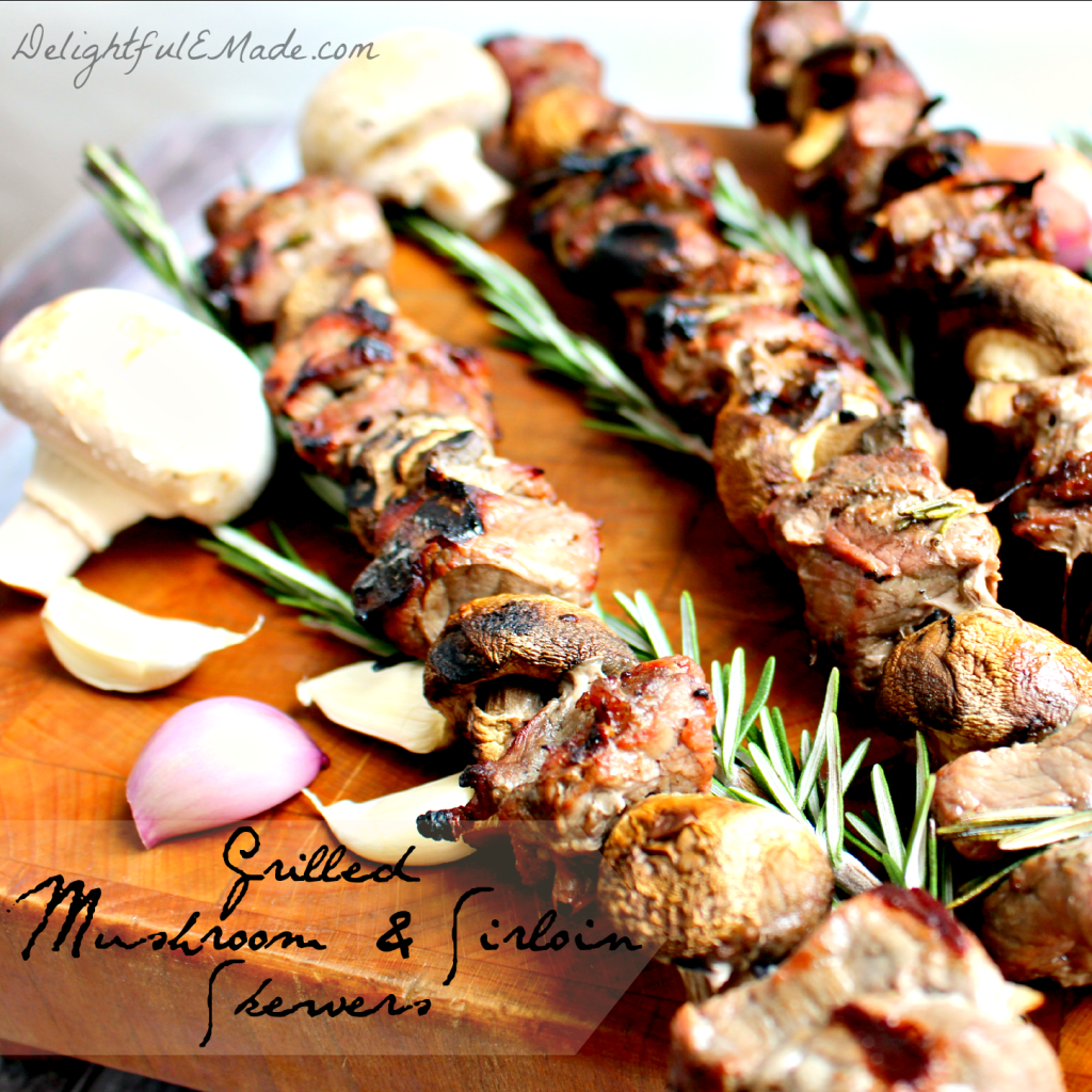Grilled Mushroom and Sirloin Skewers by Delightfulemade.com