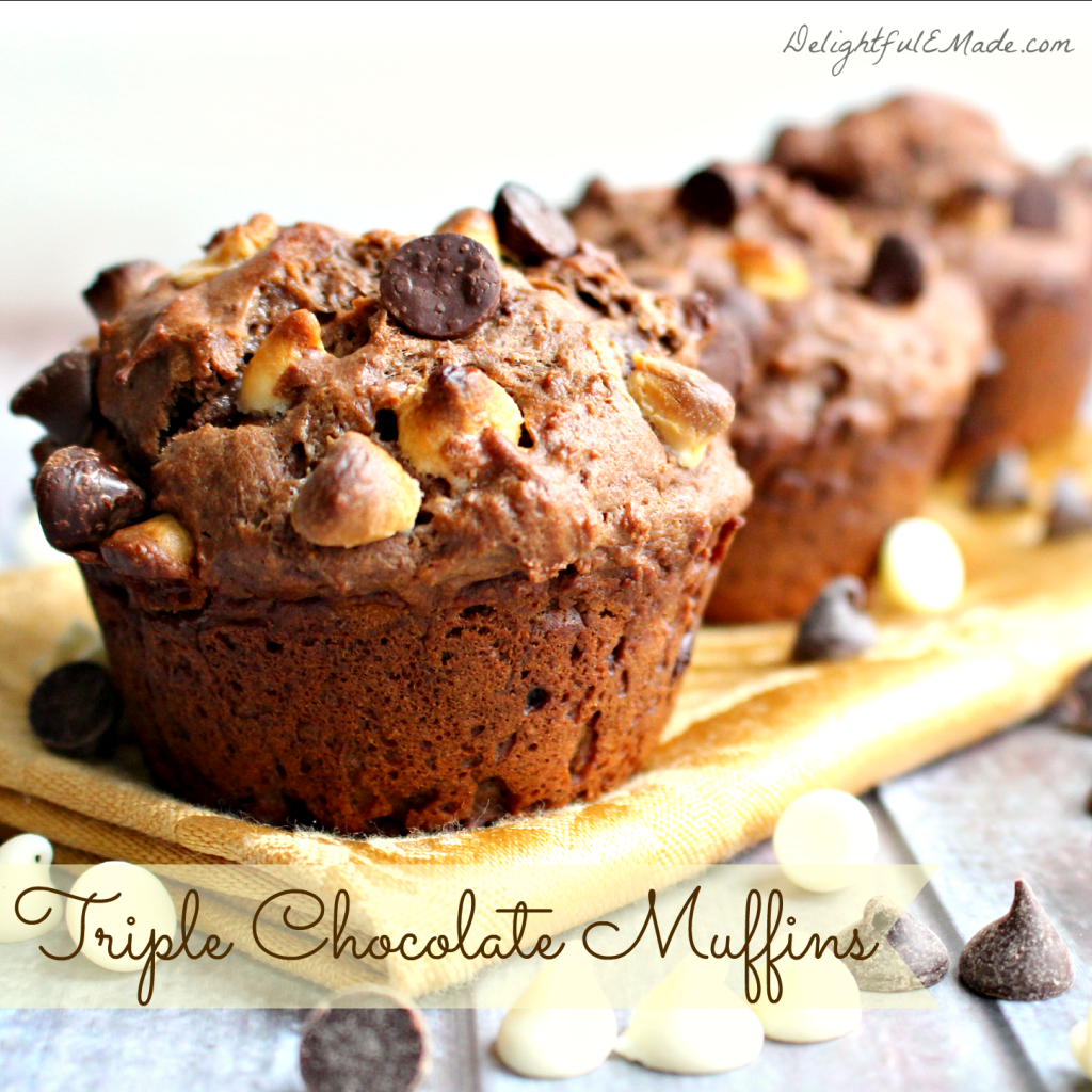 Chocolate for breakfast is always a good idea! A batch of these delicious Triple Chocolate Muffins includes both white and semi-sweet chocolate chips nestled in a moist, delicious cake-like batter! It's the perfect way to enjoy some chocolaty deliciousness first thing in the morning!