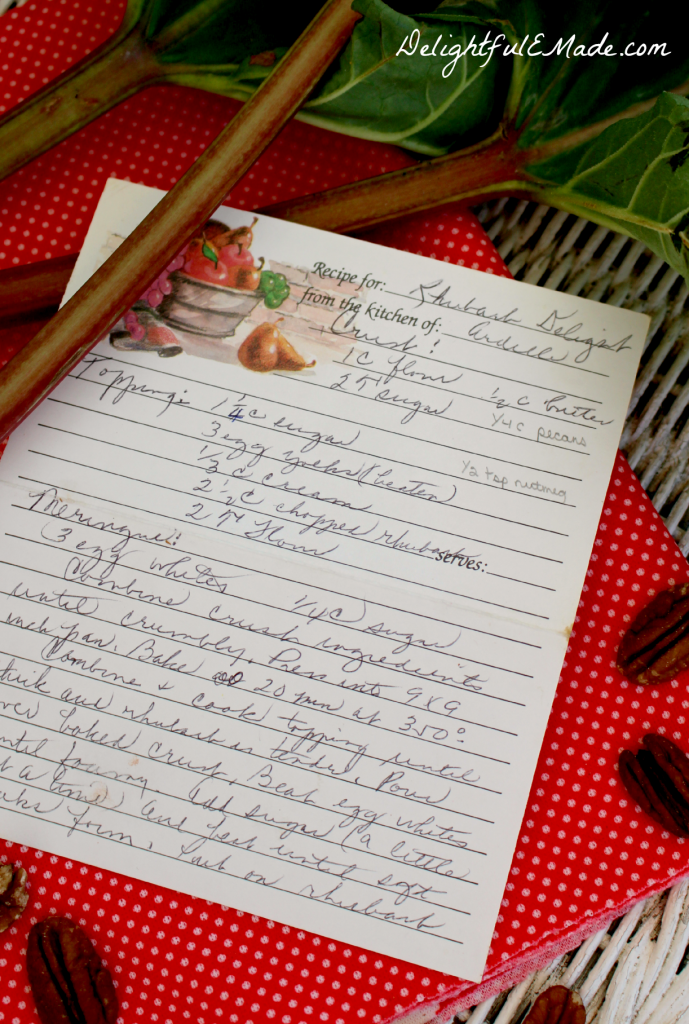 Ardelle's Rhubarb Delight recipe card - in Ardelle's handwriting.