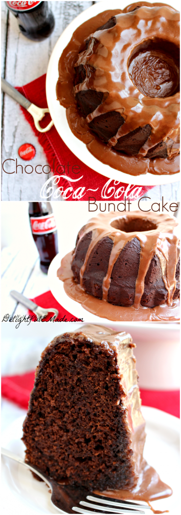 The most decadent chocolate cake!  Moist, delicious chocolate cake topped with a delicious Coca Cola glaze.  One amazing dessert!