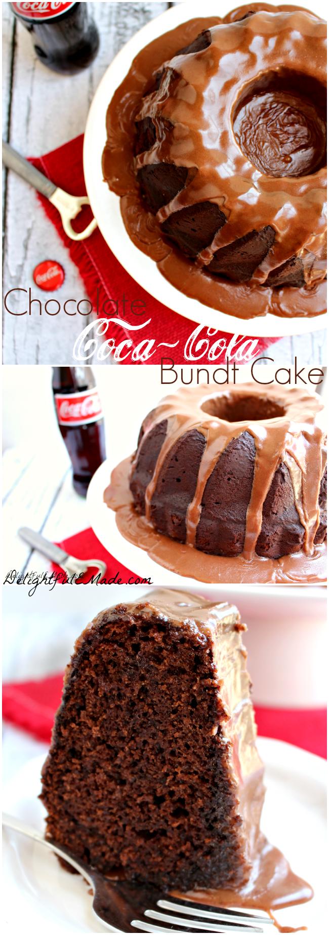 The most decadent chocolate cake! Moist, delicious chocolate cake topped with a delicious Coca Cola glaze. One amazing dessert!