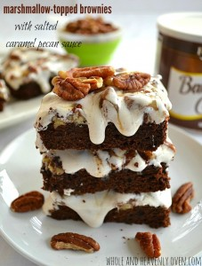 Marshmallow Topped Brownies With Salted Caramel Pecan Sauce