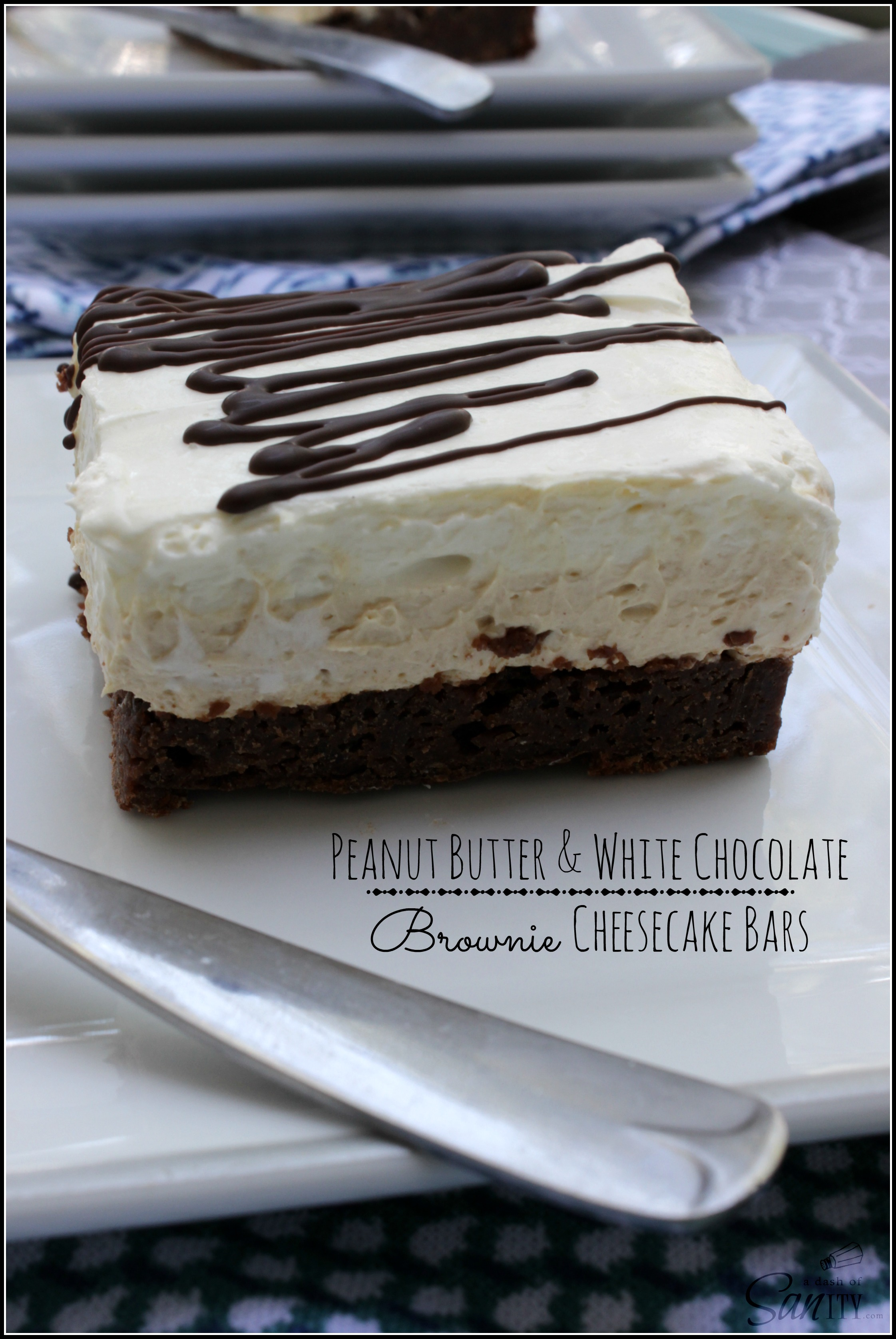 Peanut Butter and White Chocolate Brownie Cheesecake Bars