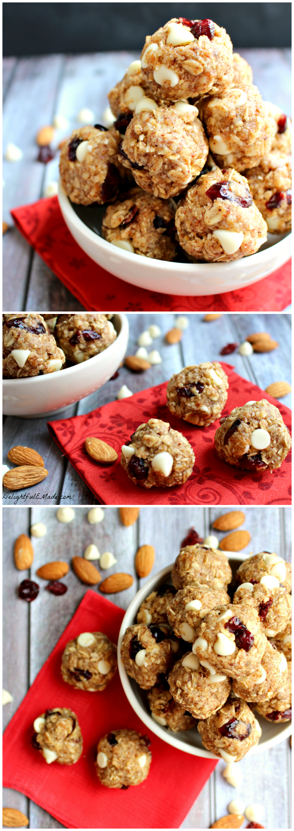 Cranberry Almond Energy Bites by DelightfulEMade.com