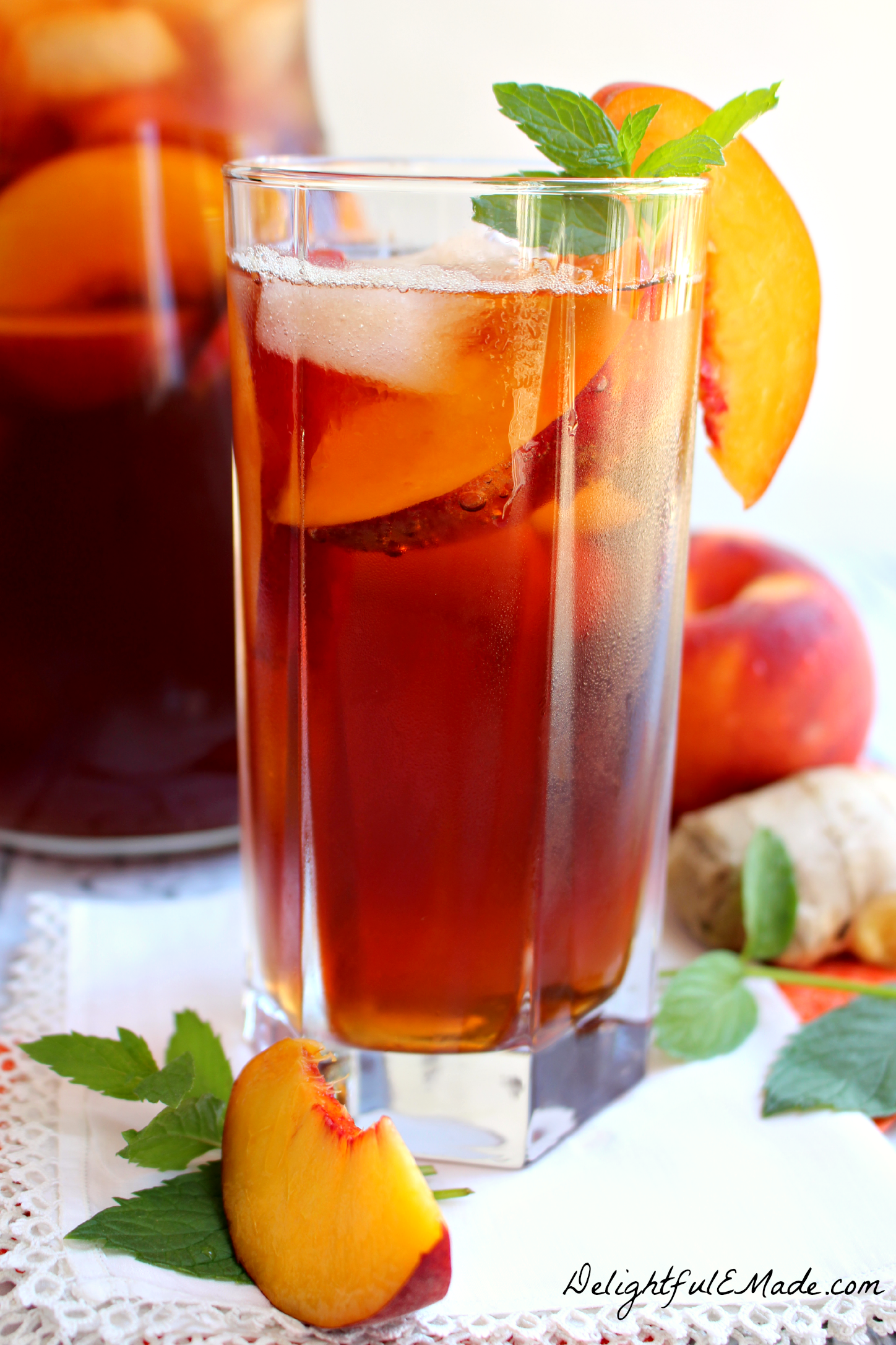 Ginger Peach Iced Tea by DelightfulEMade.com