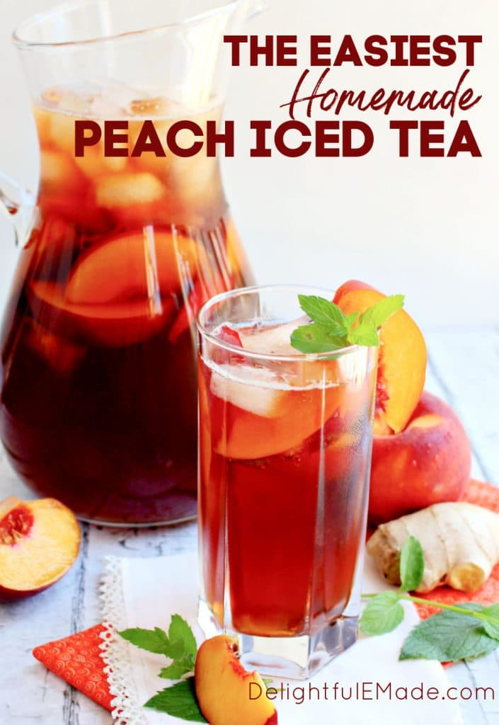 Pitcher and glass of peach iced tea recipe, garnished with fresh peach slices and mint.