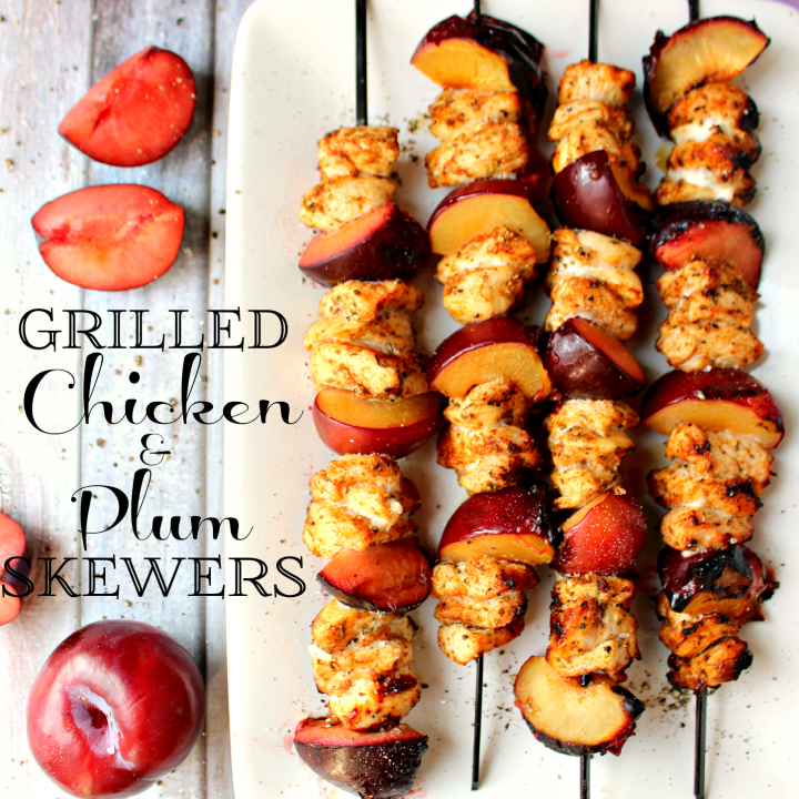 Grilled Chicken and Plum Skewers by DelightfulEMade.com