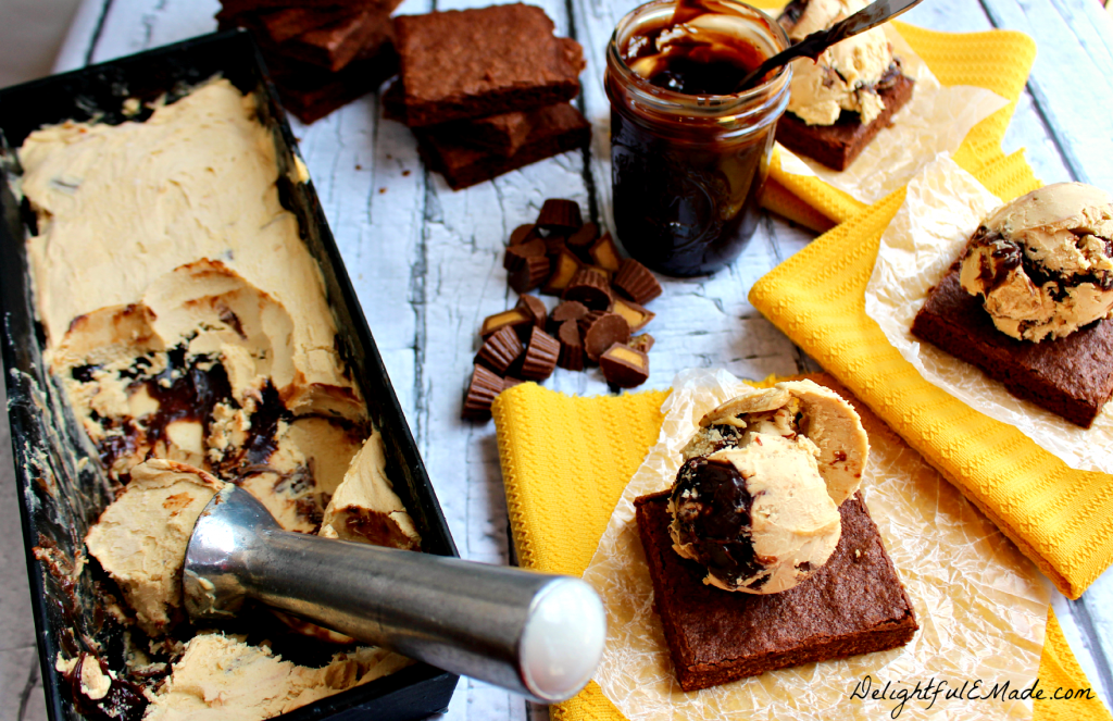 Chocolate and peanut butter lovers - you NEED these! Rich peanut butter fudge ice cream studded with Reese's Peanut Butter Cups and hot fudge sauce are sandwiched between two brownies making the most perfect summer dessert! INCREDIBLE!!