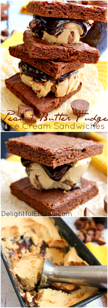 Chocolate and peanut butter lovers - you NEED these! Rich peanut butter fudge ice cream and hot fudge sauce are sandwiched between two brownies making the most perfect summer dessert! INCREDIBLE!!