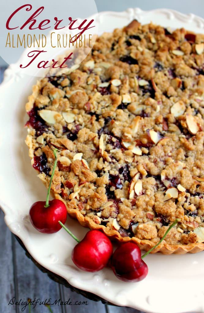 Even easier than Cherry Pie, this Cherry Almond Crumble Tart is fabulous! Loaded with fresh cherry flavor, this super-simple tart recipe, uses store-bought pie crust, along with fresh or frozen cherries. Makes an amazing Thanksgiving or Christmas dessert or just a simple weeknight treat!
