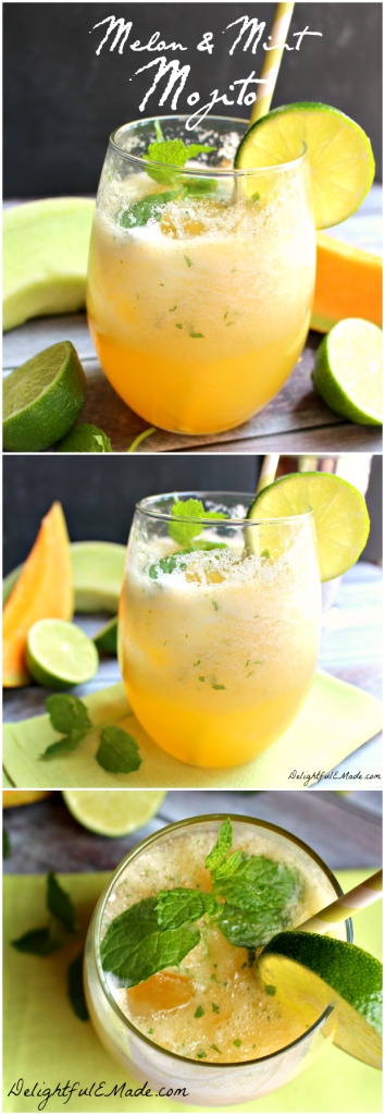 Served icy cold, this refreshing mojito cocktail is perfect on a hot day! Cantaloupe, honeydew, lime and mint make this drink amazing!!  Fantastic for Cinco de Mayo, too!